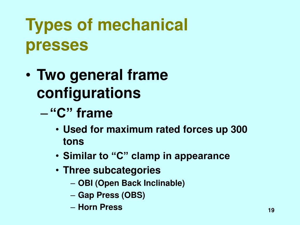 Types of mechanical presses