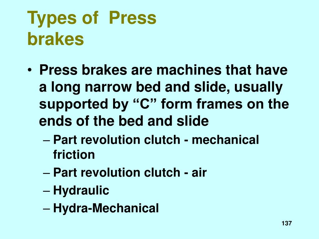 Types of  Press brakes