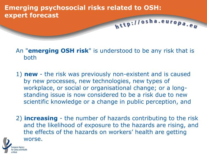 Emerging psychosocial risks related to osh expert forecast l.jpg