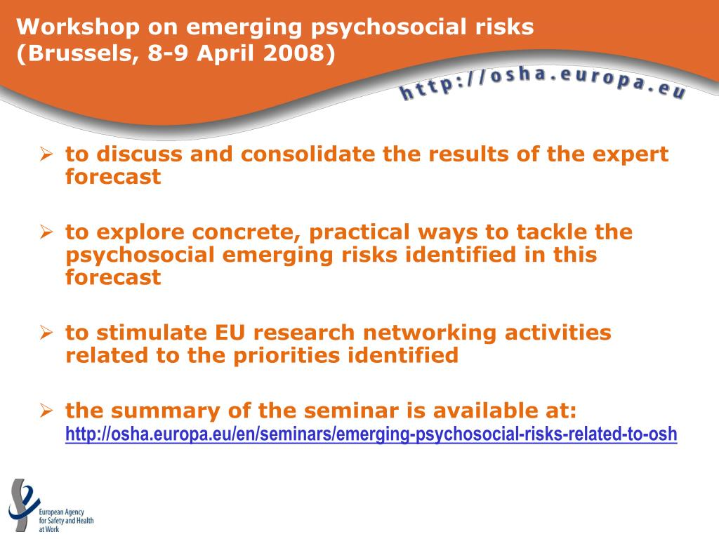 Workshop on emerging psychosocial risks