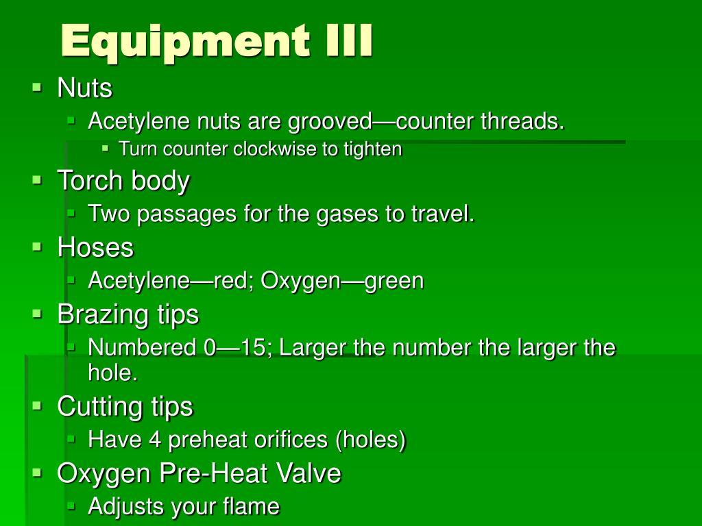 Equipment III