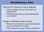 establishing a plan