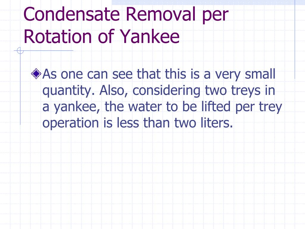 Condensate Removal per Rotation of Yankee