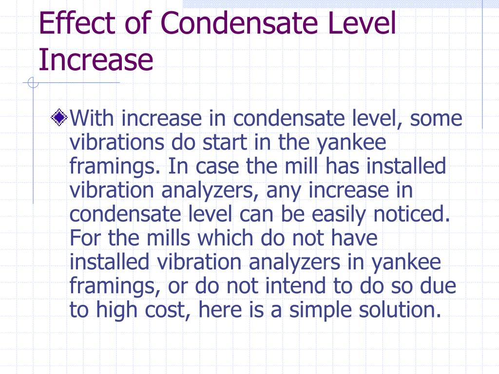 Effect of Condensate Level Increase