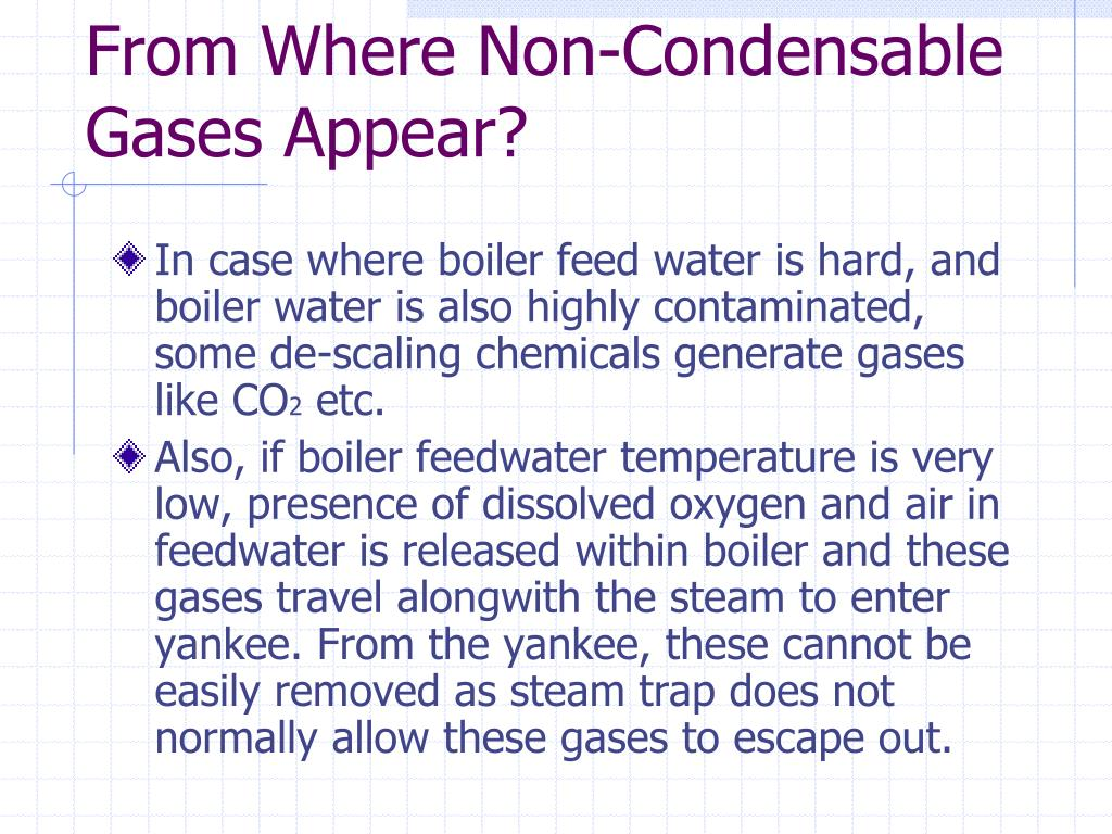 From Where Non-Condensable Gases Appear?