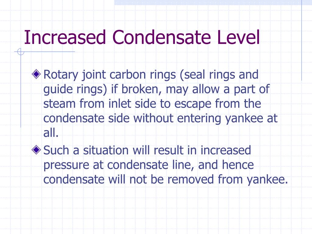Increased Condensate Level