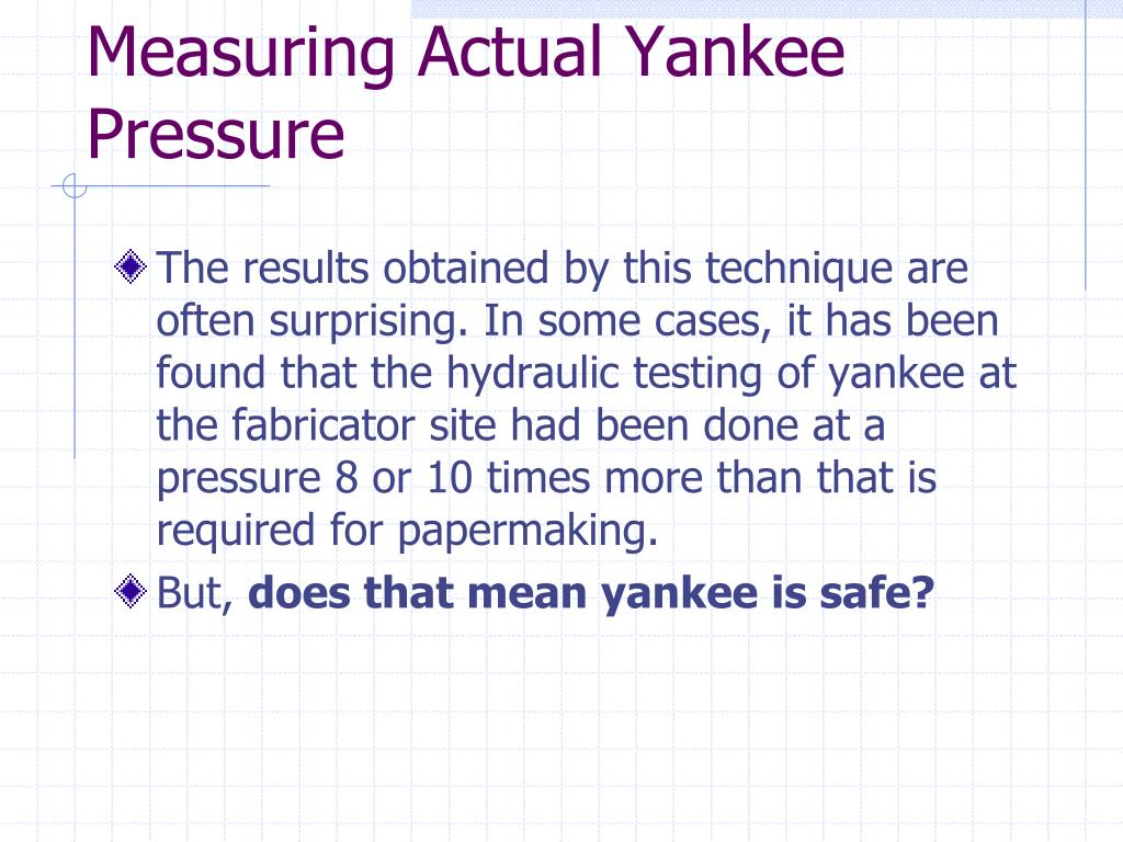 Measuring Actual Yankee Pressure