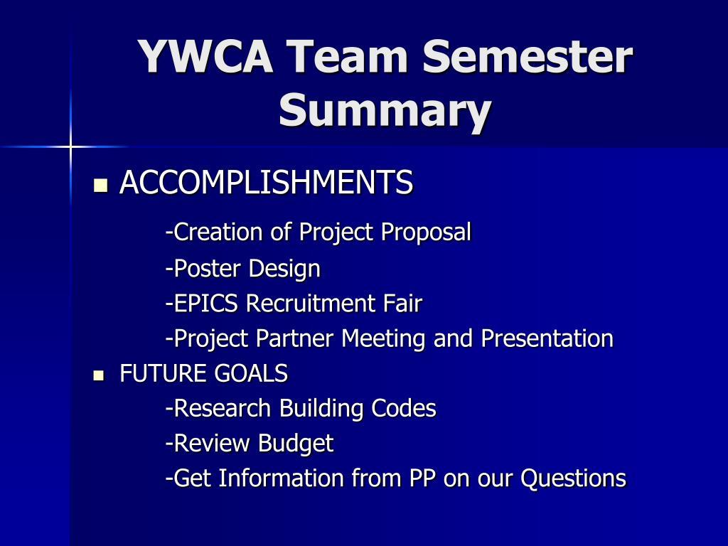 YWCA Team Semester Summary