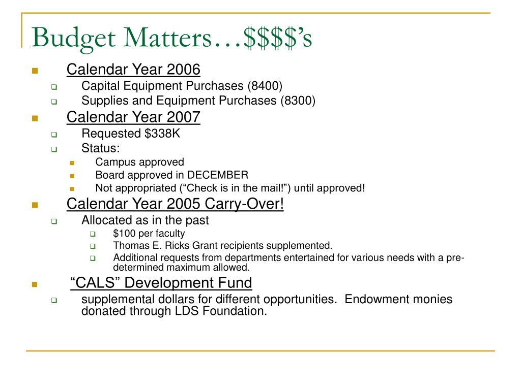 Budget Matters…$$$$'s