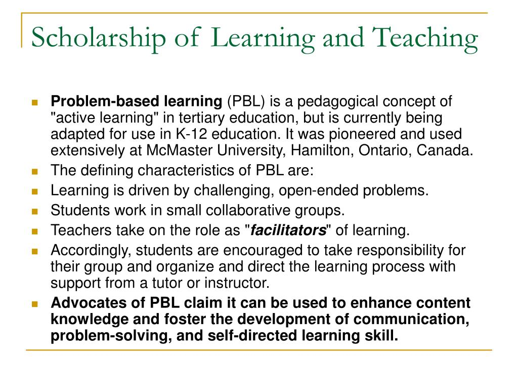 Scholarship of Learning and Teaching