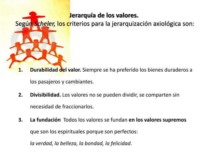Jerarquía de los valores.