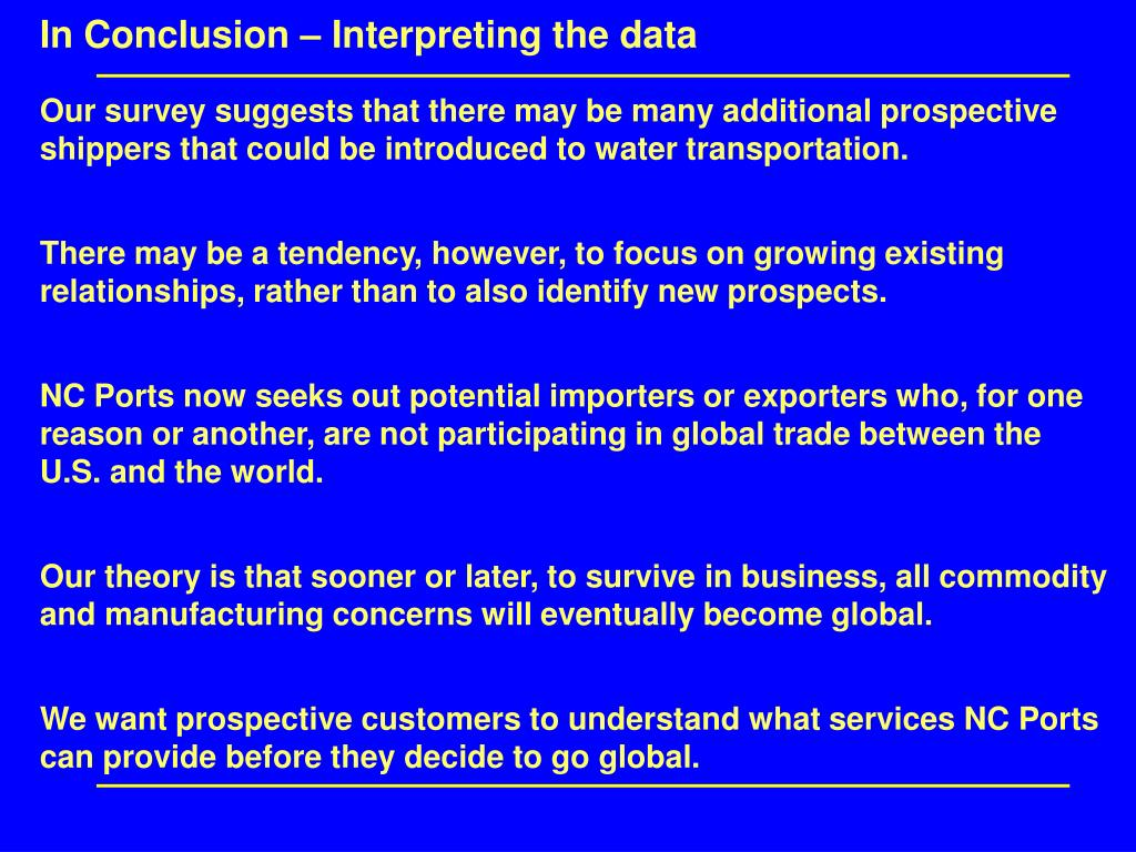 In Conclusion – Interpreting the data