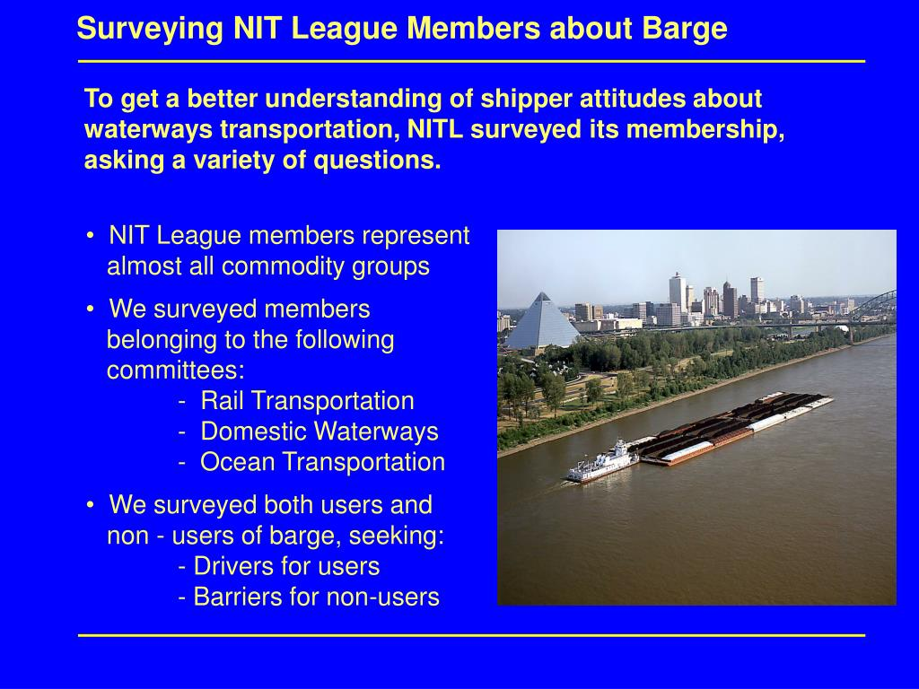 Surveying NIT League Members about Barge