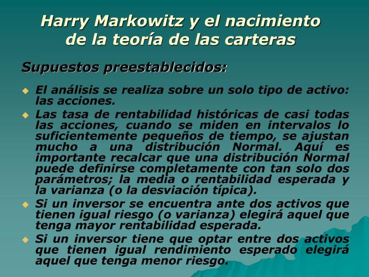 Harry Markowitz y el nacimiento de la teoría de las carteras