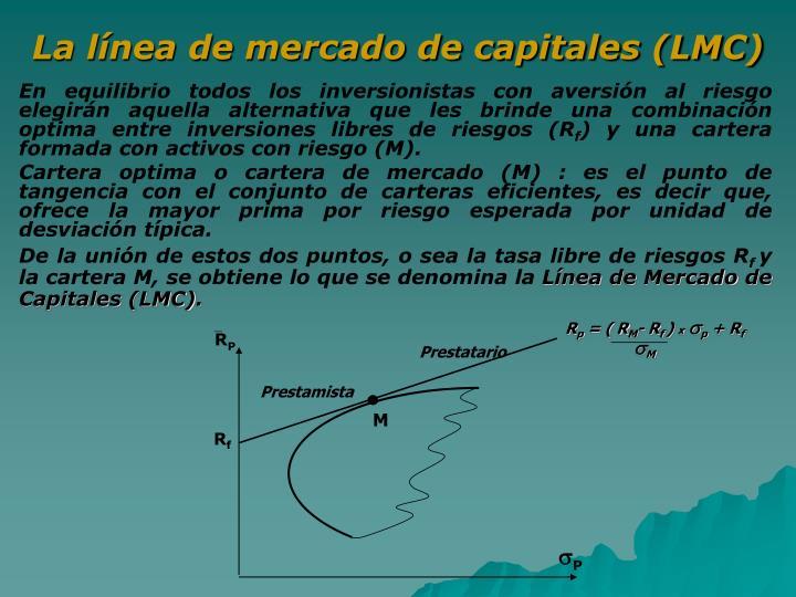 La línea de mercado de capitales (LMC)
