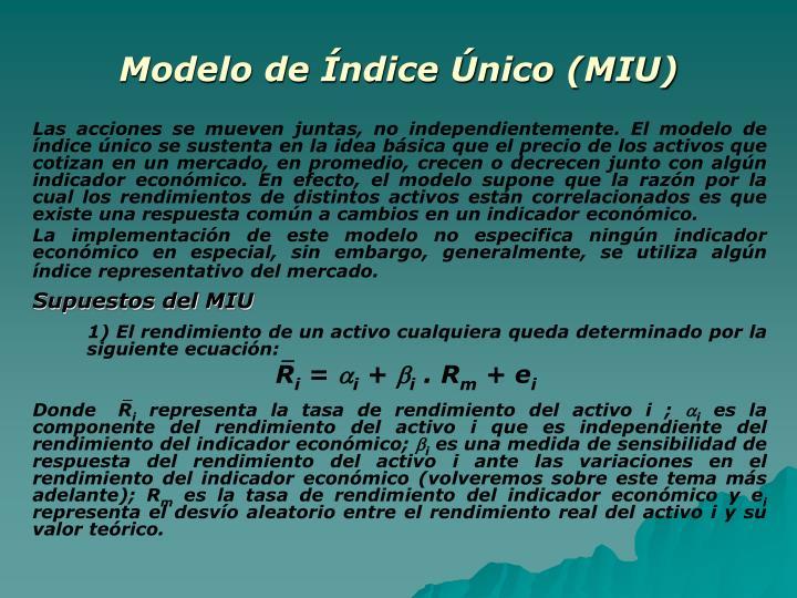 Modelo de Índice Único (MIU)