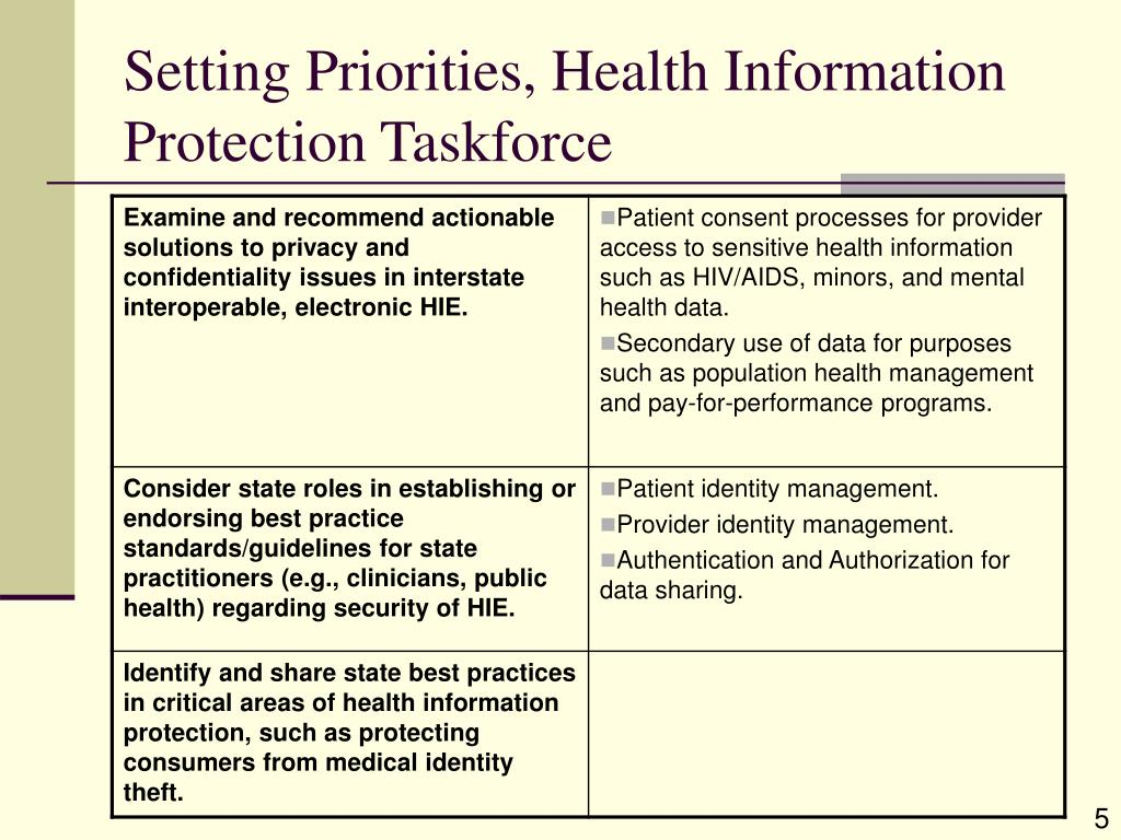 Setting Priorities, Health Information Protection Taskforce