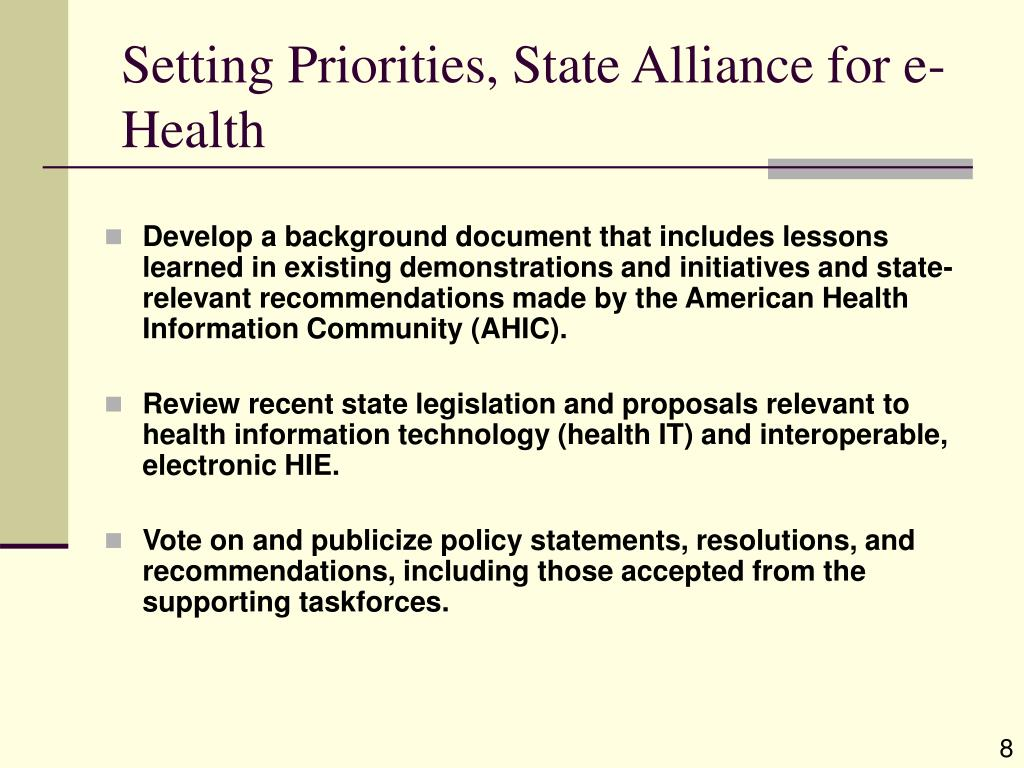 Setting Priorities, State Alliance for e-Health