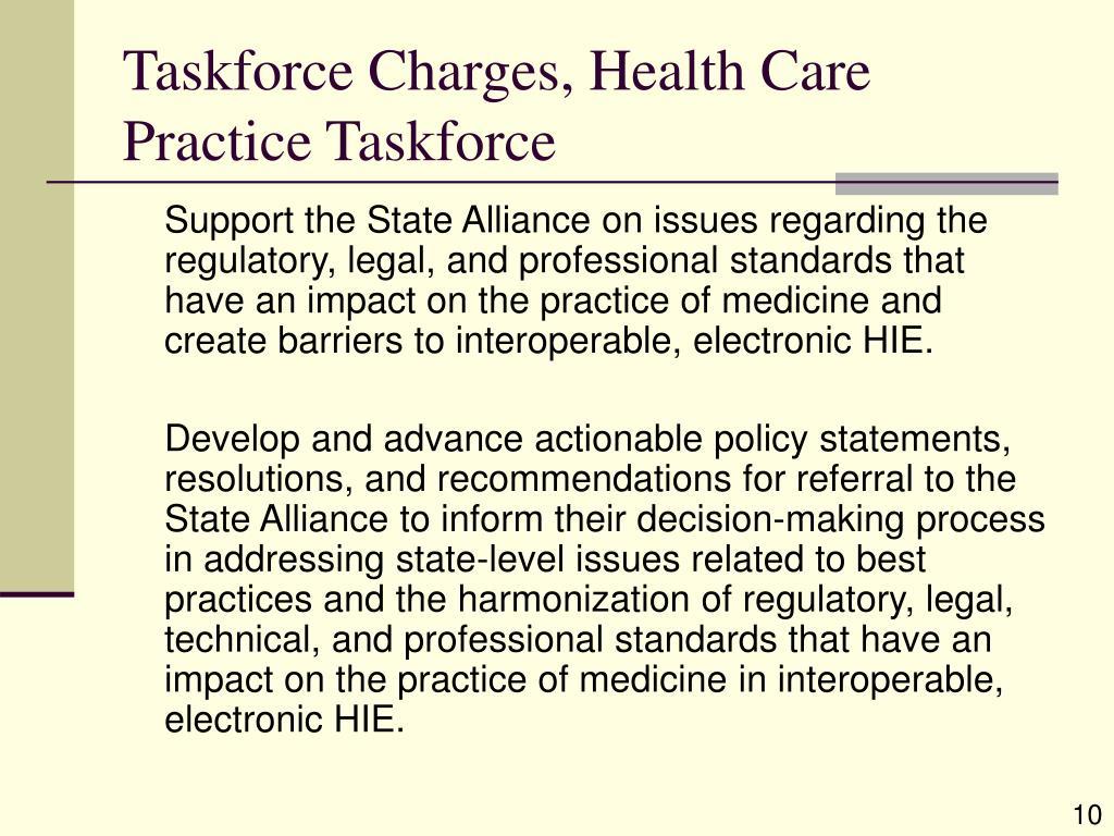 Taskforce Charges, Health Care Practice Taskforce