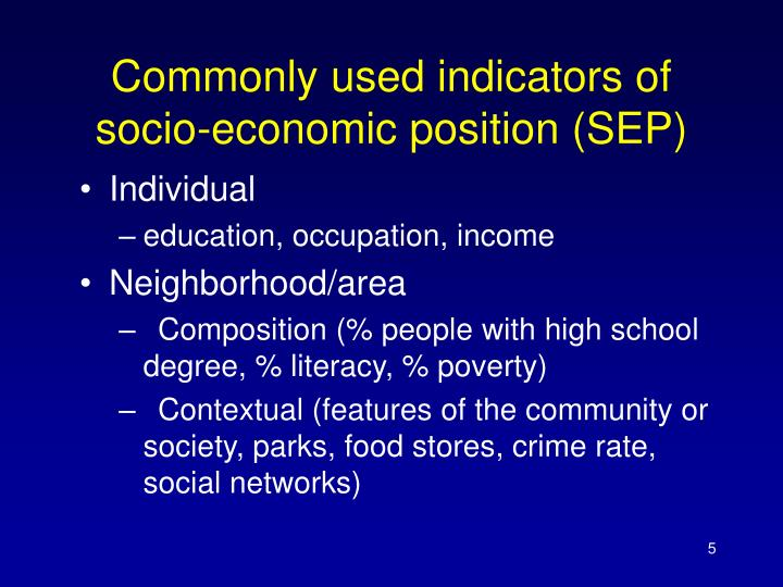 Commonly used indicators of