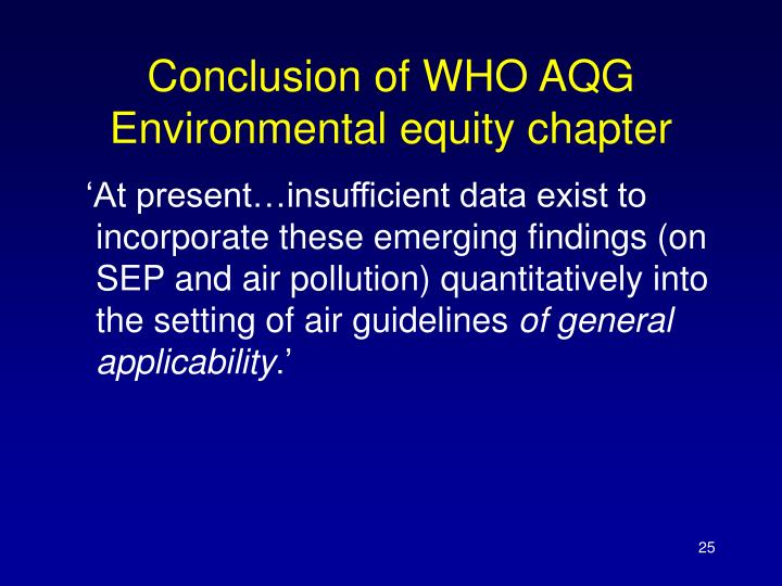 Conclusion of WHO AQG Environmental equity chapter