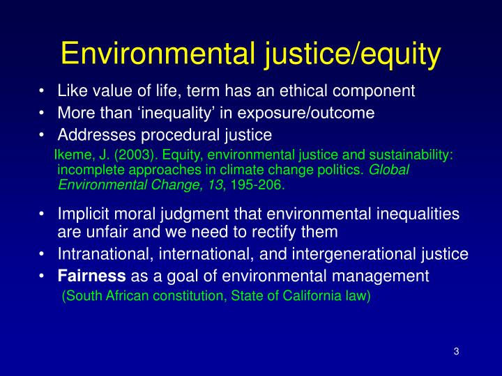 Environmental justice/equity