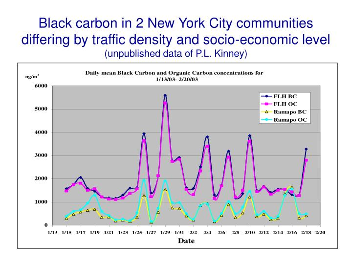 Black carbon in 2 New York City communities differing by traffic density and socio-economic level