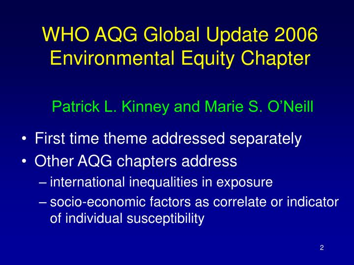 WHO AQG Global Update 2006 Environmental Equity Chapter
