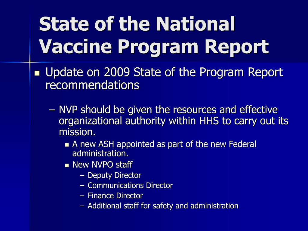 State of the National Vaccine Program Report