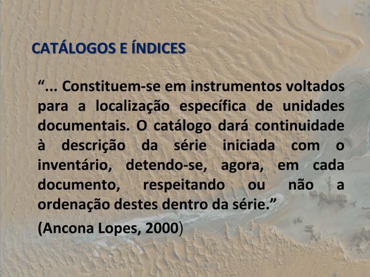 CATLOGOS E NDICES