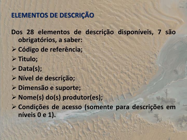 ELEMENTOS DE DESCRIO