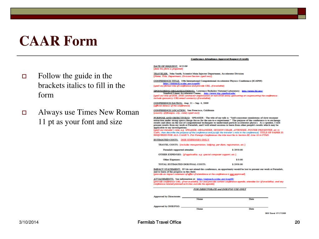 CAAR Form