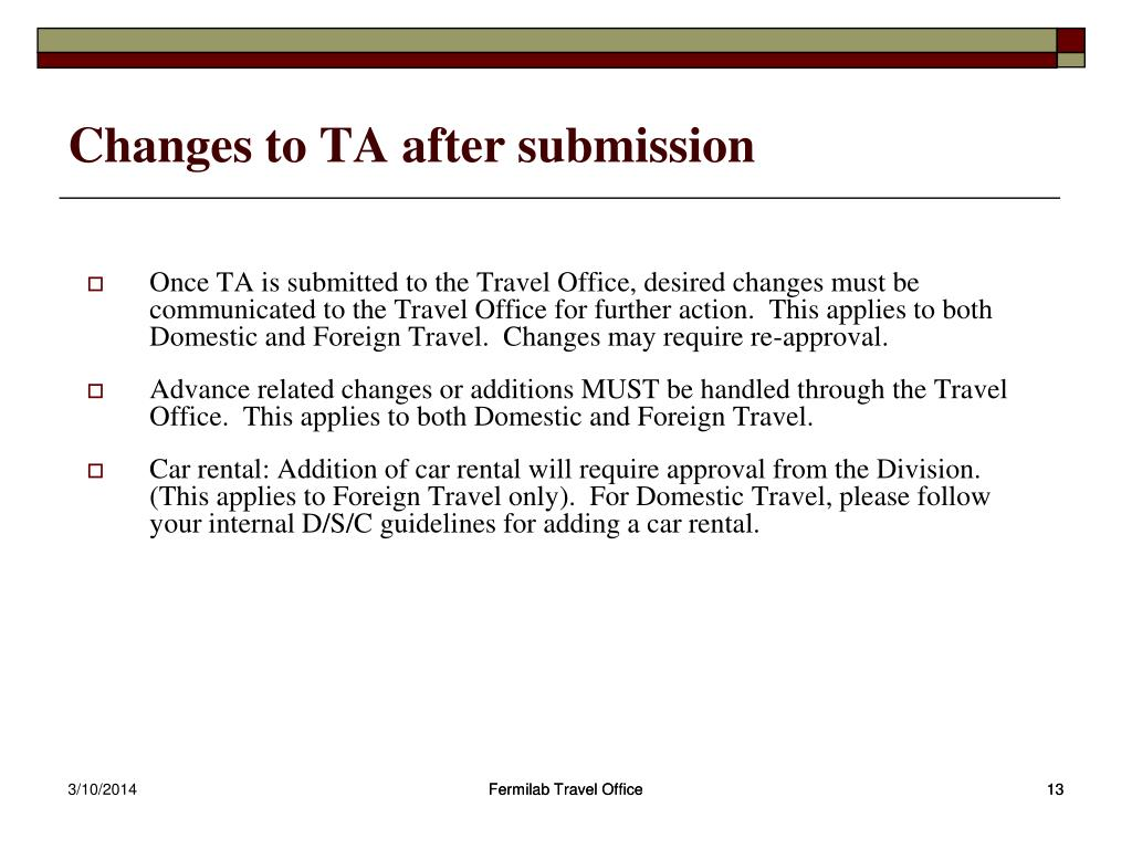Changes to TA after submission