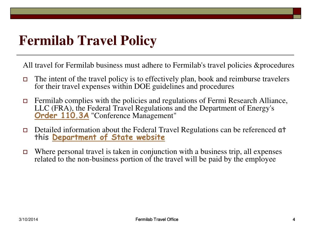 Fermilab Travel Policy
