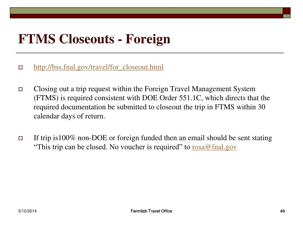 FTMS Closeouts - Foreign