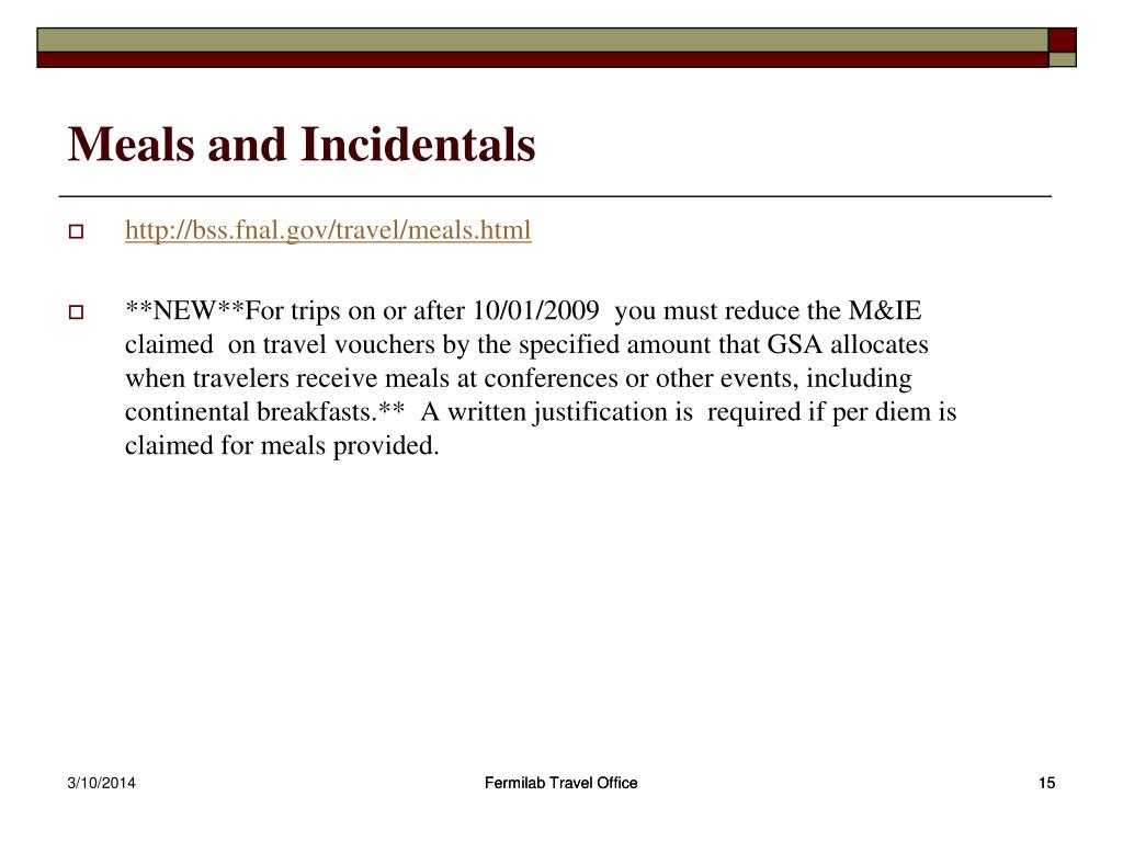 Meals and Incidentals
