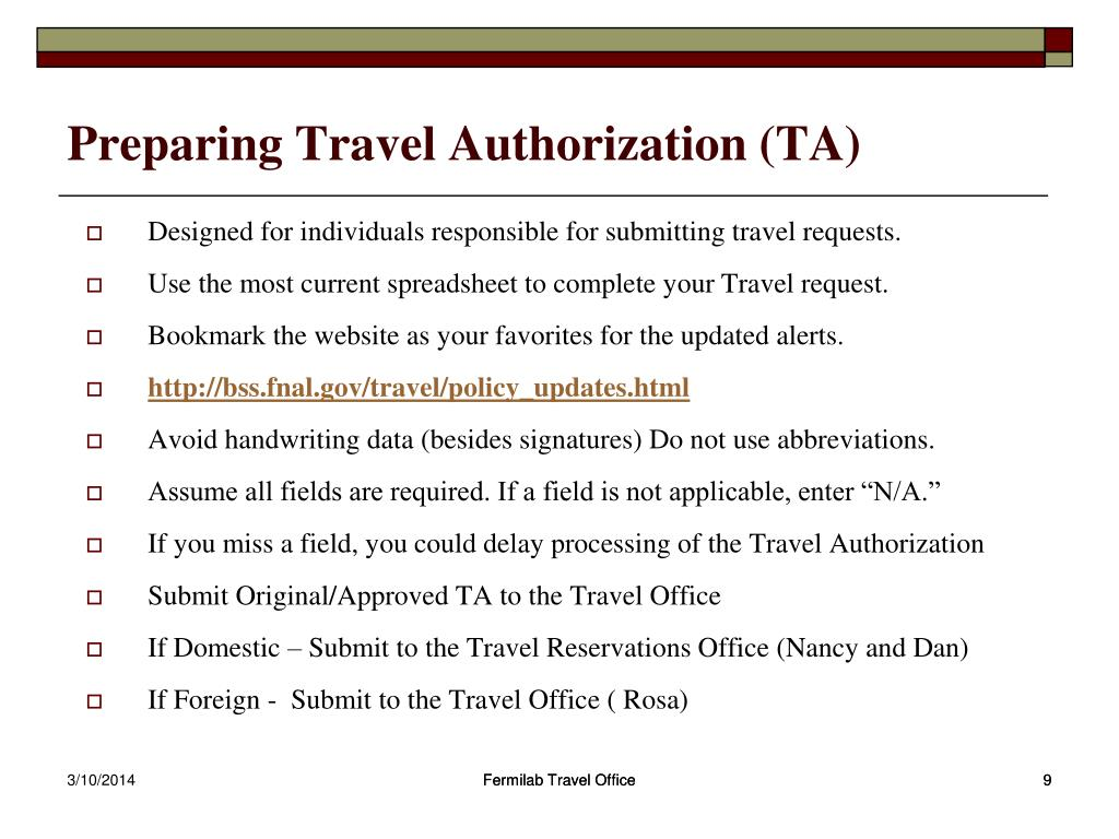 Preparing Travel Authorization (TA)