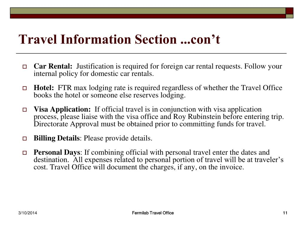 Travel Information Section ...con't