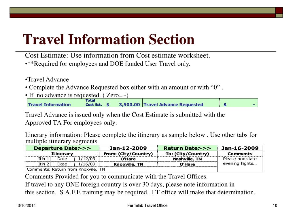 Travel Information Section