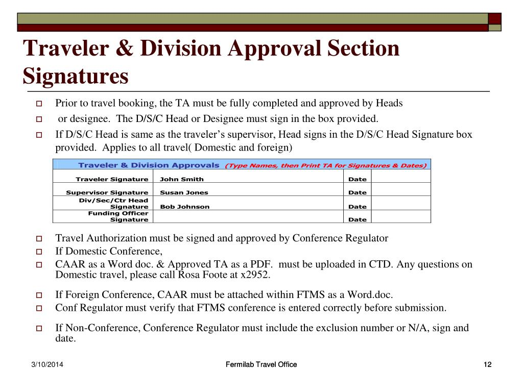 Traveler & Division Approval Section