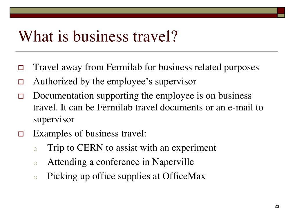 What is business travel?