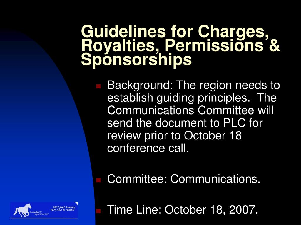 Guidelines for Charges, Royalties, Permissions & Sponsorships