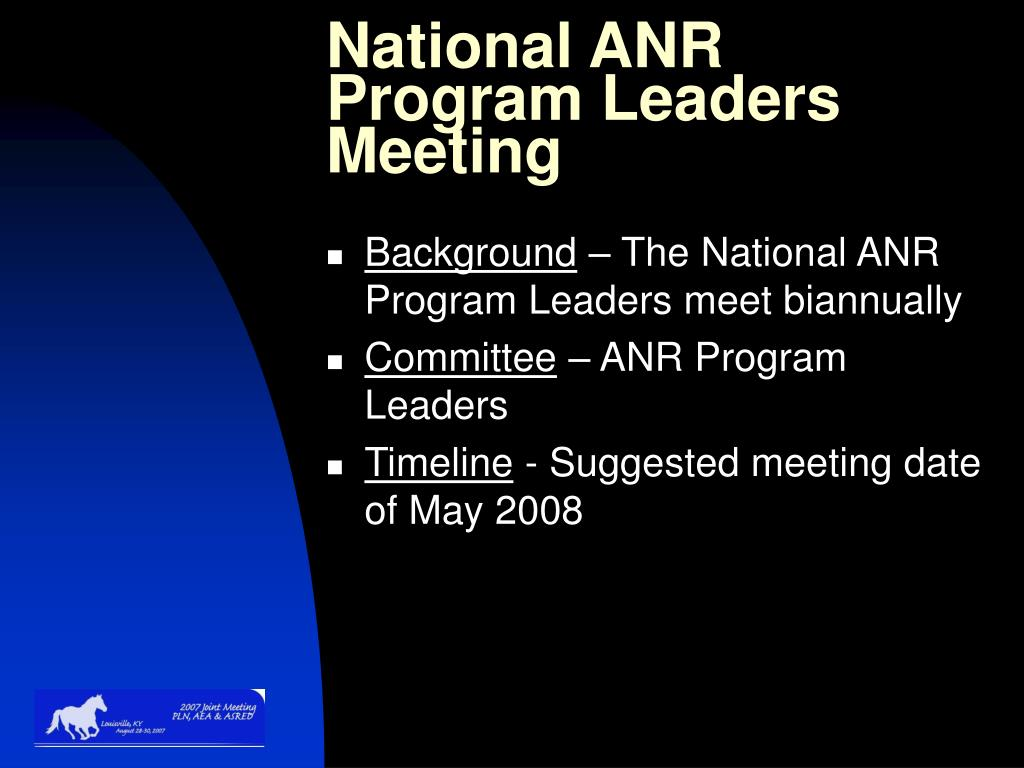 National ANR Program Leaders Meeting