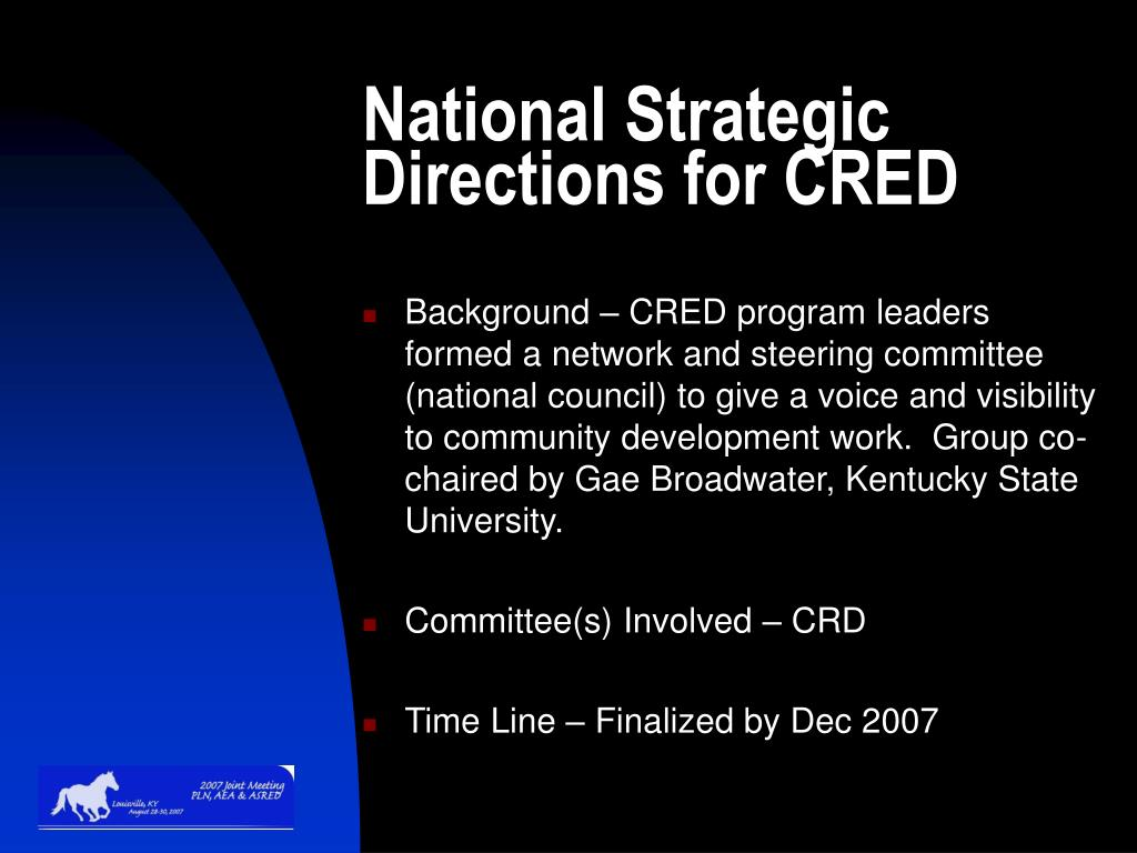 National Strategic Directions for CRED