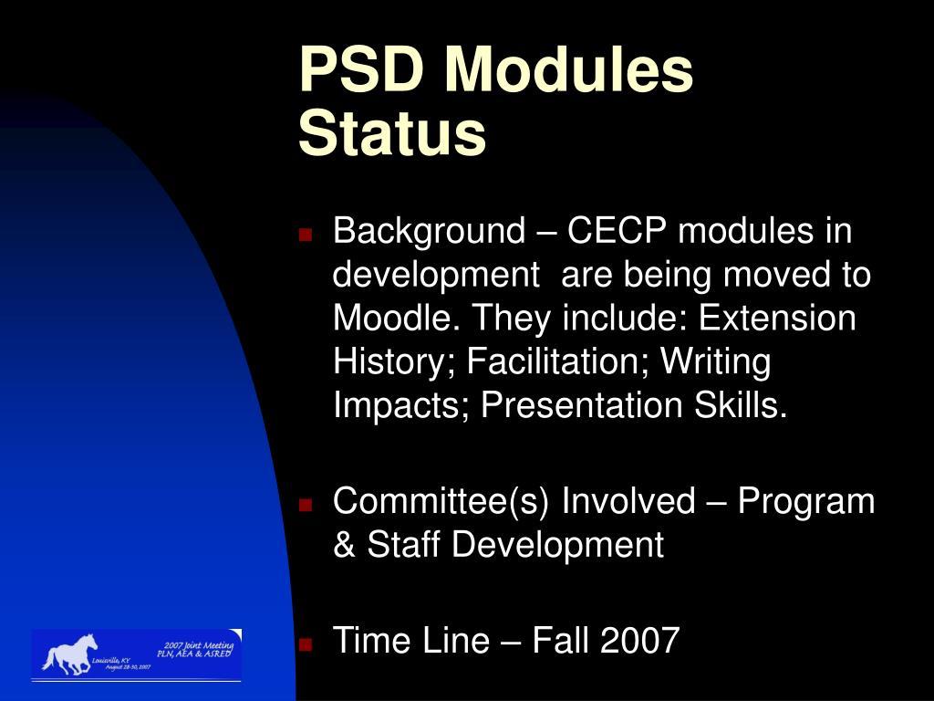 PSD Modules Status