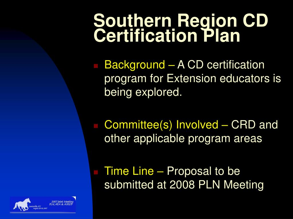 Southern Region CD Certification Plan