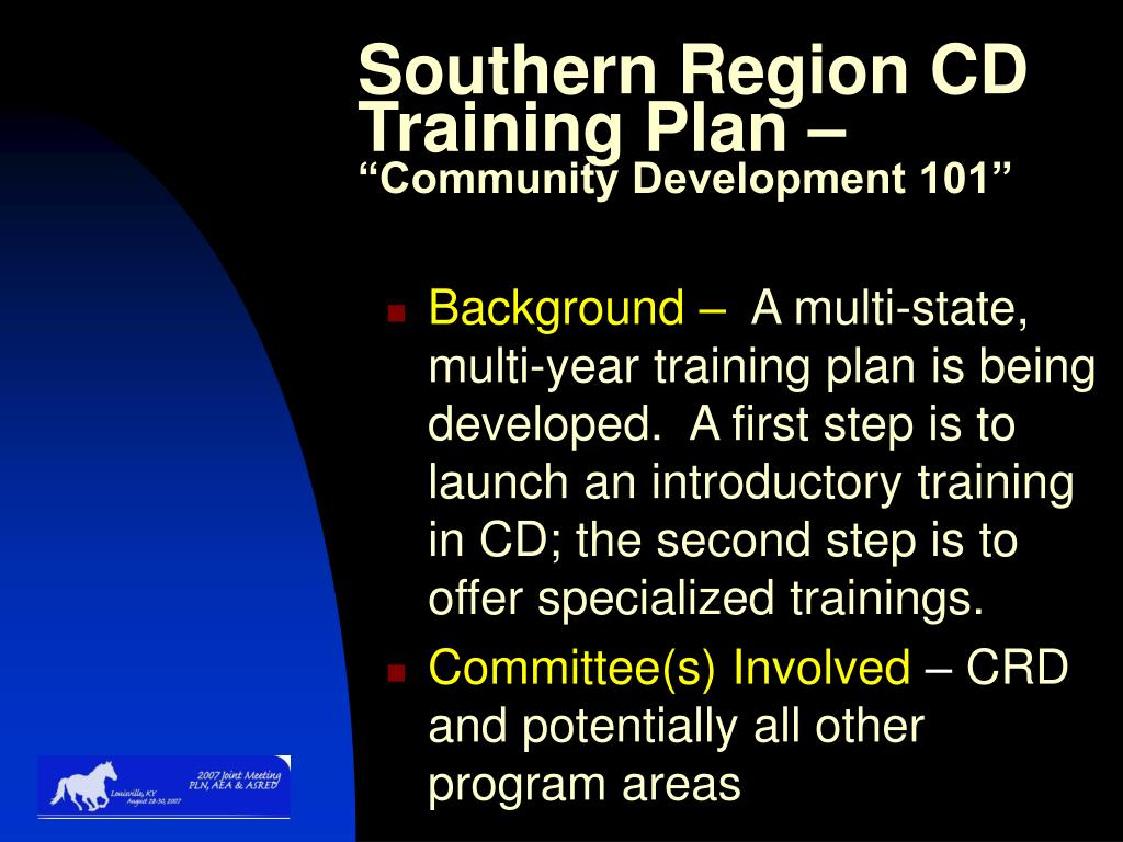 Southern Region CD Training Plan –
