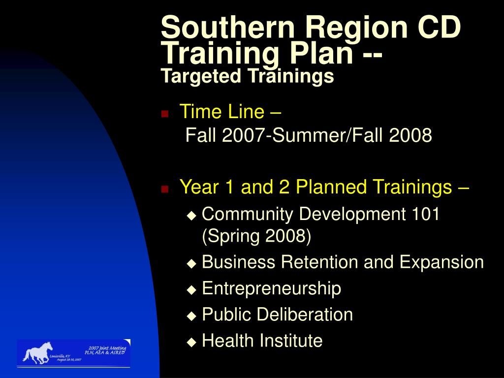 Southern Region CD Training Plan --