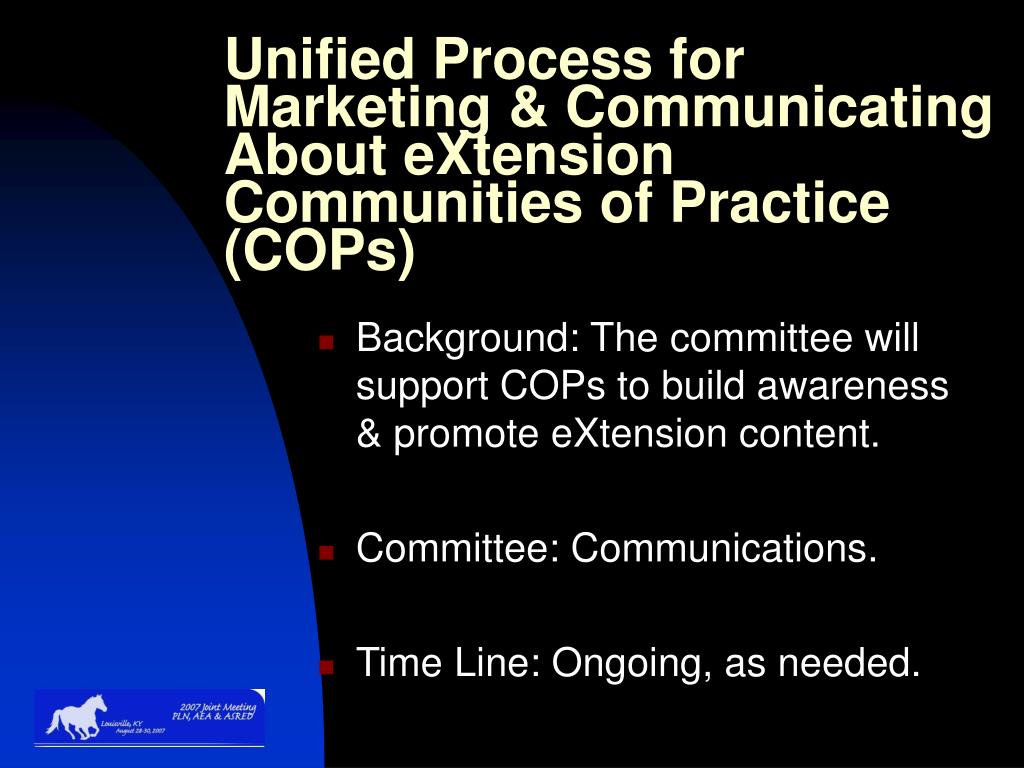 Unified Process for Marketing & Communicating About eXtension Communities of Practice (COPs)