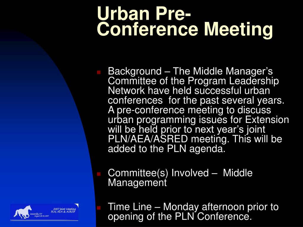 Urban Pre-Conference Meeting